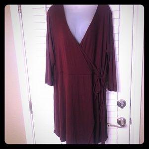 {NWT}Forever 21 plus rust rib knit faux wrap dress